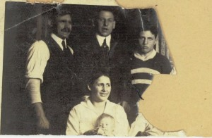 Probably Polly with her parents and other relatives.